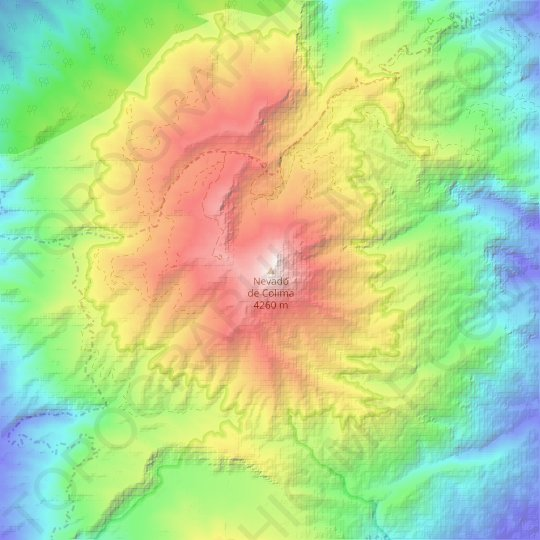 Nevado de Colima topographic map, relief map, elevations map
