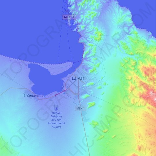 La Paz topographic map, relief map, elevations map