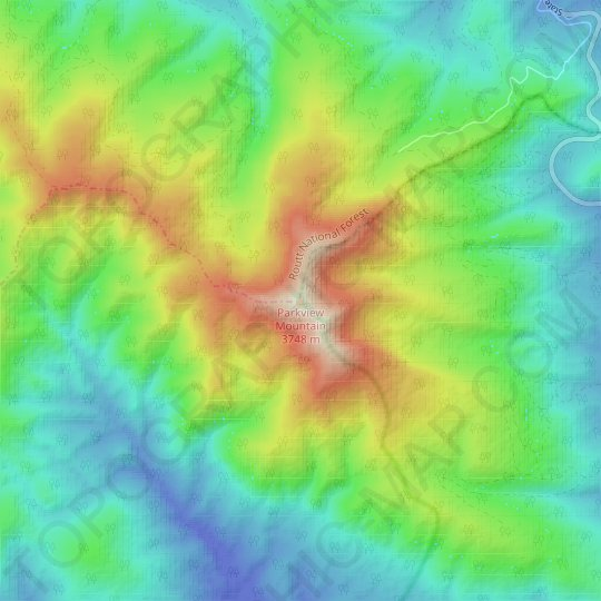 Parkview Mountain topographic map, relief map, elevations map