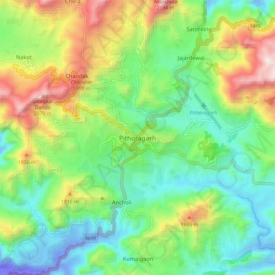 Pithoragarh topographic map, relief map, elevations map