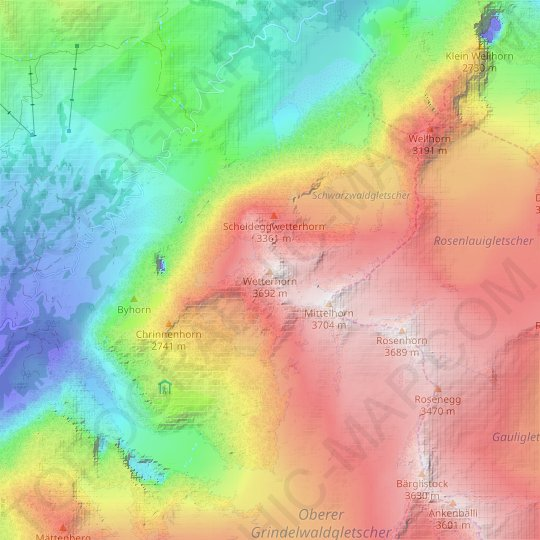 Wetterhorn topographic map, relief map, elevations map