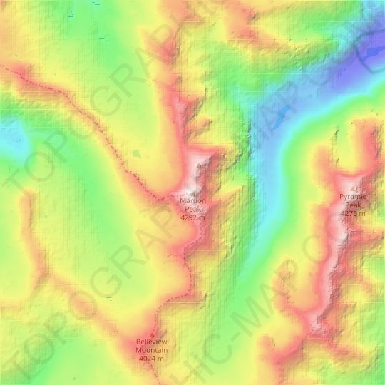 Maroon Peak topographic map, relief map, elevations map