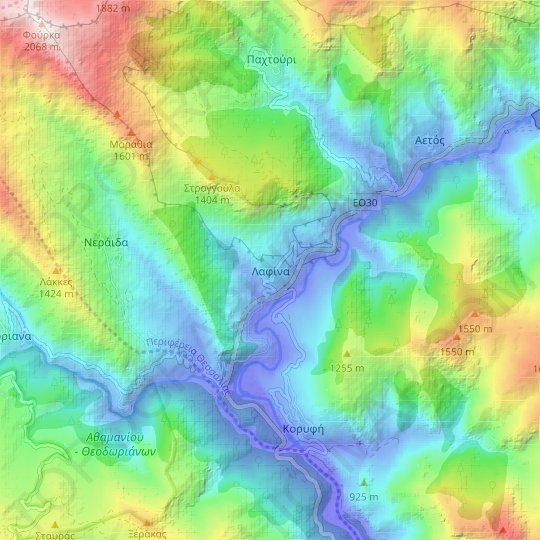Lafina topographic map, relief map, elevations map