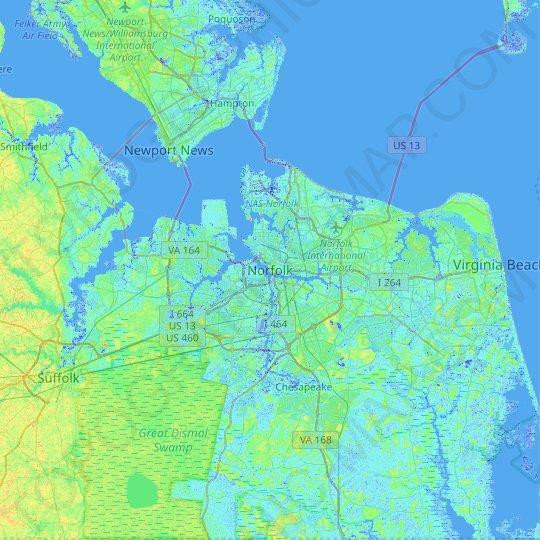 Norfolk topographic map, relief map, elevations map