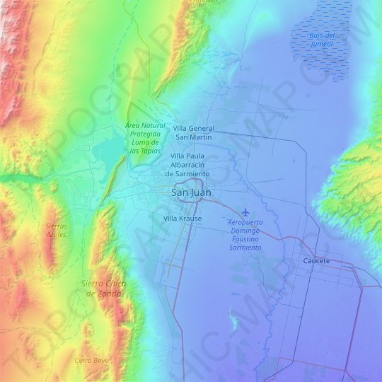 San Juan topographic map, relief map, elevations map