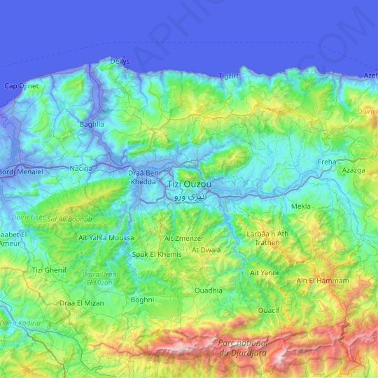 Tizi Ouzou topographic map, relief map, elevations map
