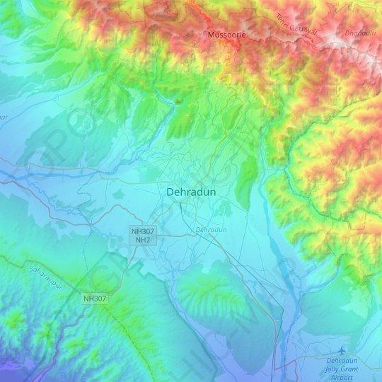 Dehradun topographic map, relief map, elevations map