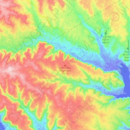 Owl Creek Mountains topographic map, relief map, elevations map