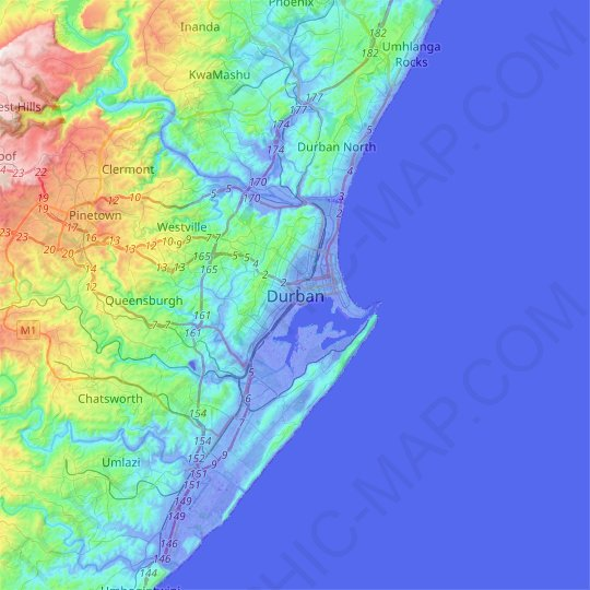 Durban topographic map, relief map, elevations map