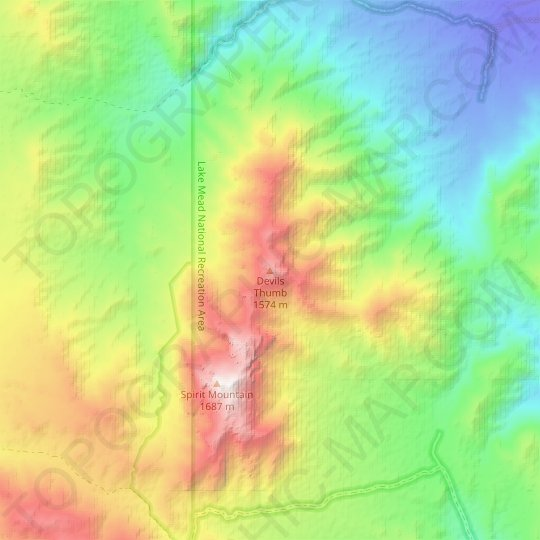 Devils Thumb topographic map, relief map, elevations map