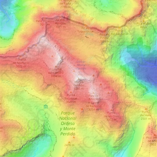 Monte Perdido topographic map, relief map, elevations map