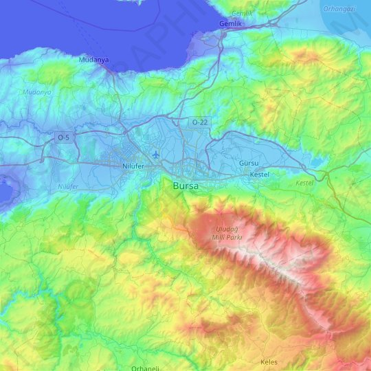 Bursa topographic map, relief map, elevations map