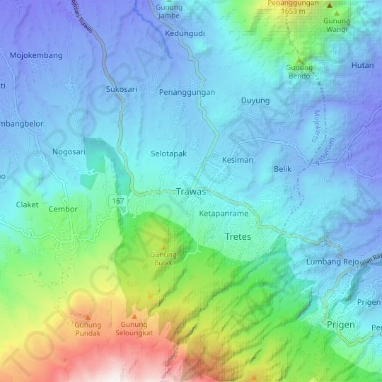 Trawas topographic map, relief map, elevations map