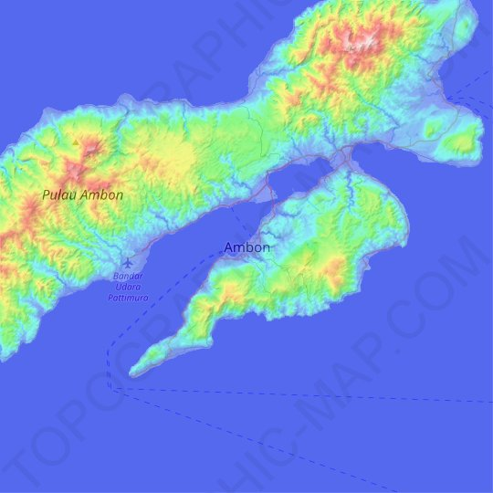 Ambon topographic map, relief map, elevations map