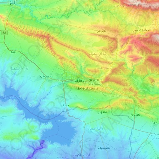 Duhok topographic map, relief map, elevations map