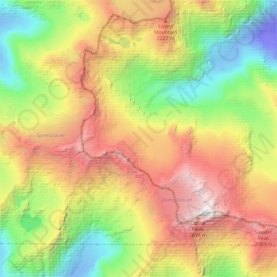 Dana Glacier topographic map, relief map, elevations map