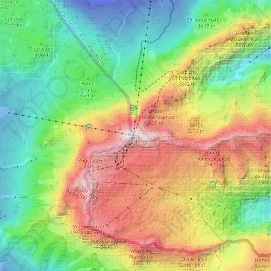 Zugspitze topographic map, relief map, elevations map