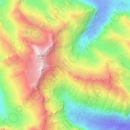 Douglas Glacier topographic map, relief map, elevations map