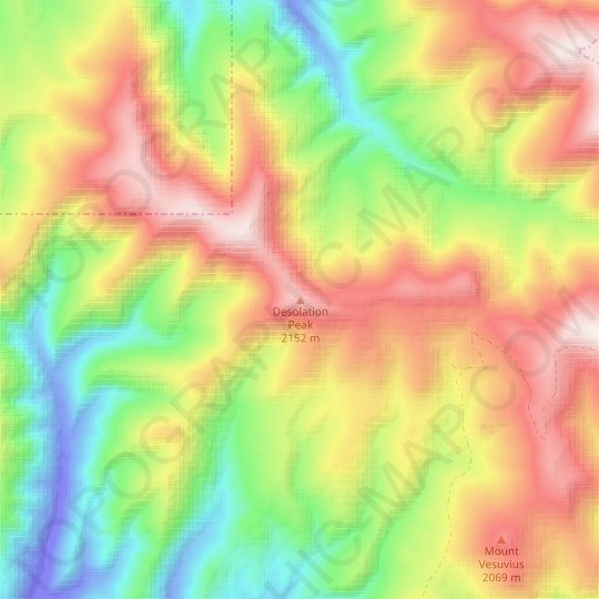 Desolation Peak topographic map, relief map, elevations map