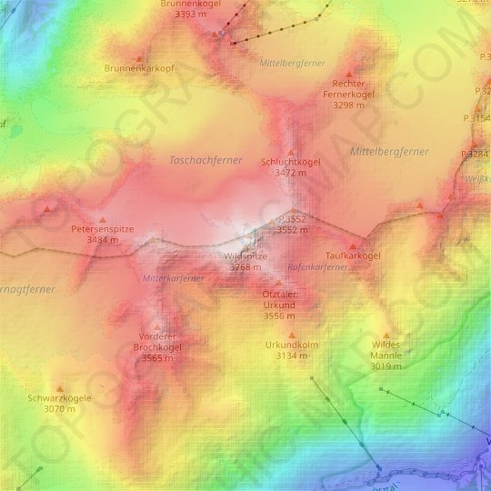 Wildspitze topographic map, relief map, elevations map