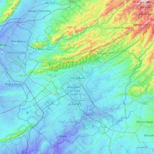 Islamabad topographic map, relief map, elevations map