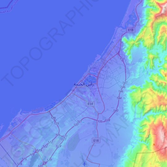 RAK topographic map, relief map, elevations map