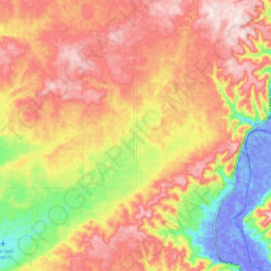 Moodys topographic map, relief map, elevations map