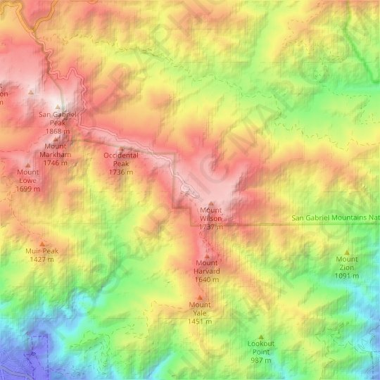 Mount Wilson topographic map, relief map, elevations map