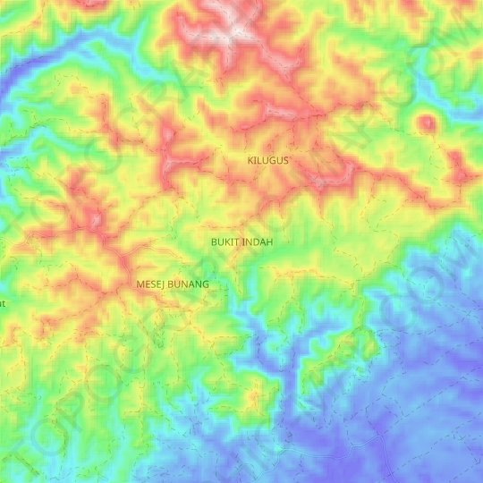 BUKIT INDAH topographic map, elevation, relief