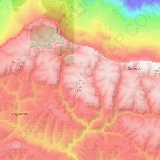 Surud Cad topographic map, elevation, relief