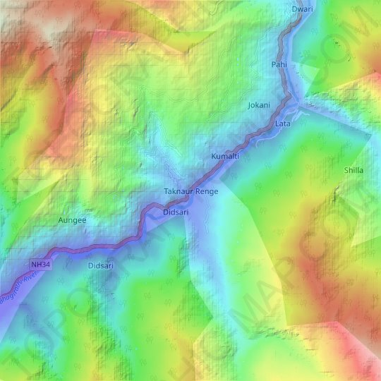 Taknaur Renge topographic map, relief map, elevations map