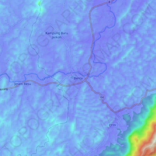 Benta topographic map, relief map, elevations map