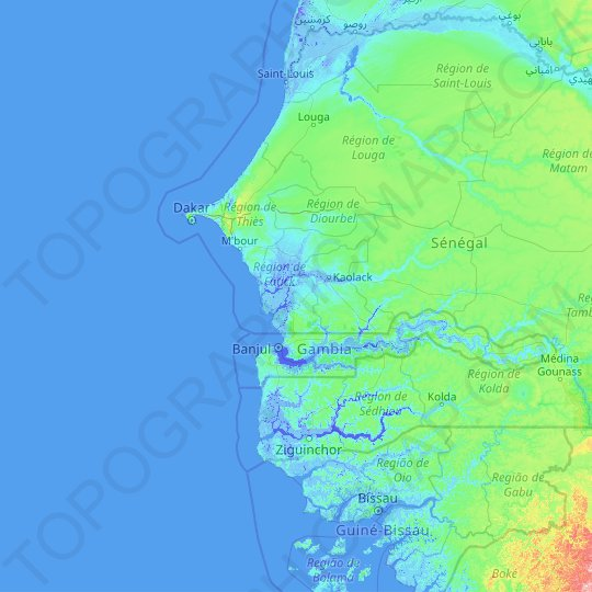Fatick topographic map, relief map, elevations map