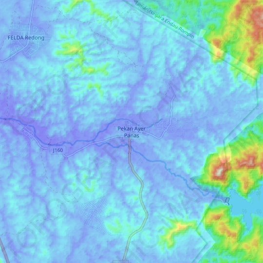 Pekan Ayer Panas topographic map, relief map, elevations map