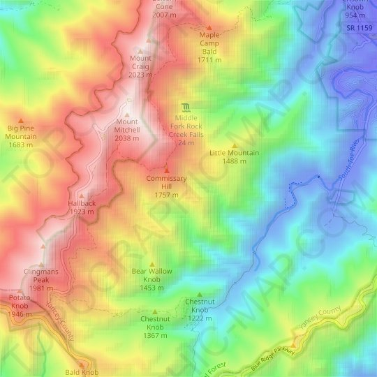 Appalachians topographic map, relief map, elevations map