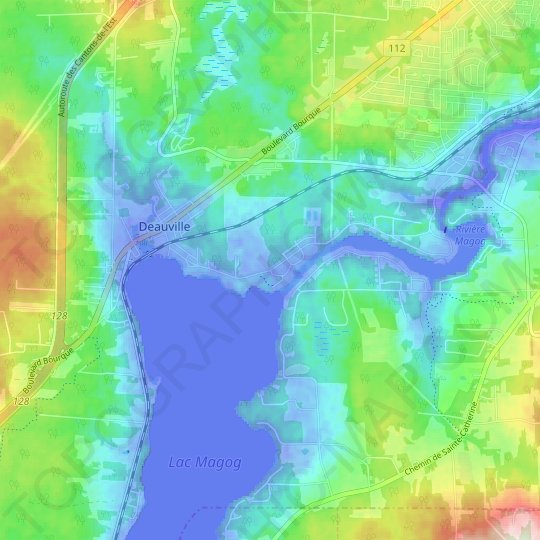Petit-Lac-Magog topographic map, relief map, elevations map