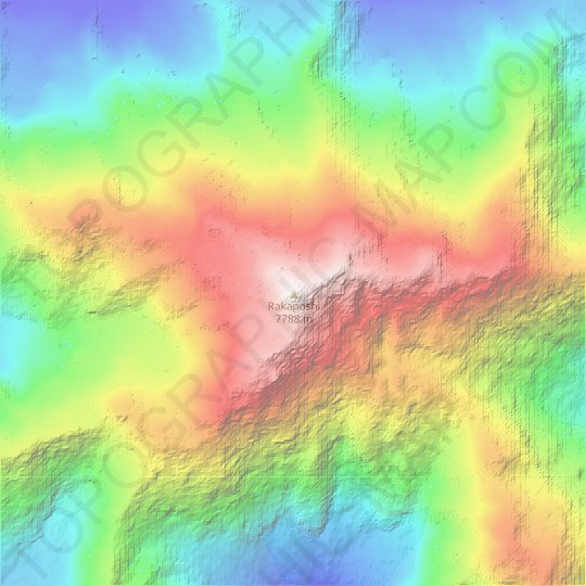 Rakaposhi topographic map, relief map, elevations map