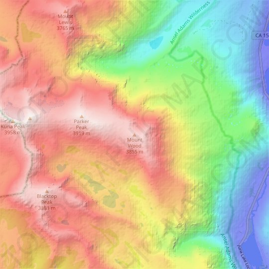 Mount Wood topographic map, relief map, elevations map
