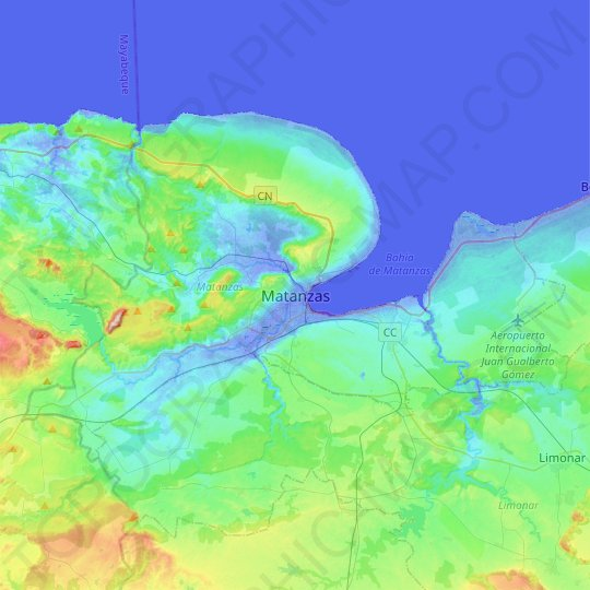 Matanzas topographic map, relief map, elevations map