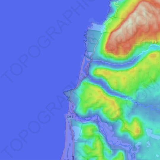 Punakaiki topographic map, relief map, elevations map