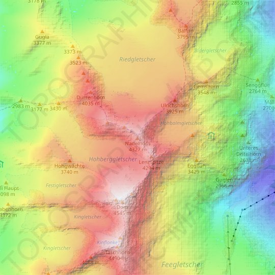 Nadelhorn topographic map, relief map, elevations map