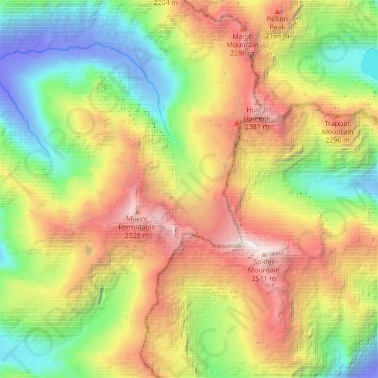Middle Cascade Glacier topographic map, relief map, elevations map