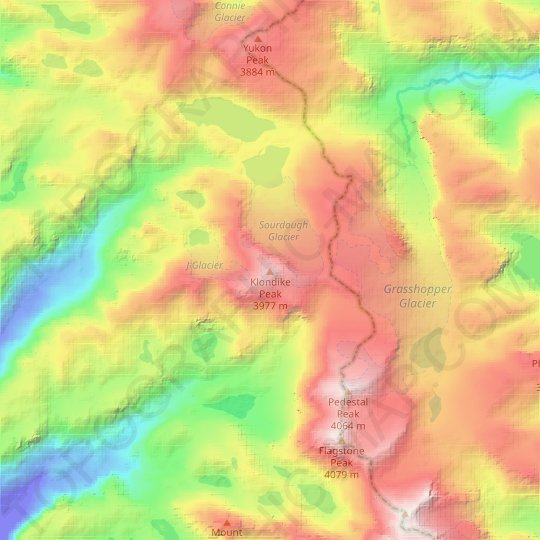 Klondike Peak topographic map, relief map, elevations map