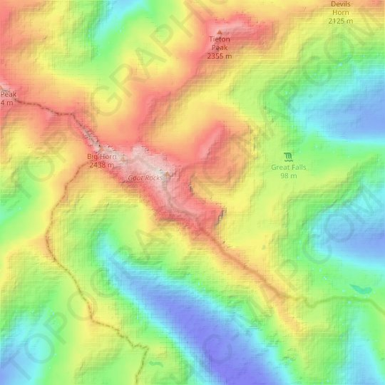 Meade Glacier topographic map, relief map, elevations map
