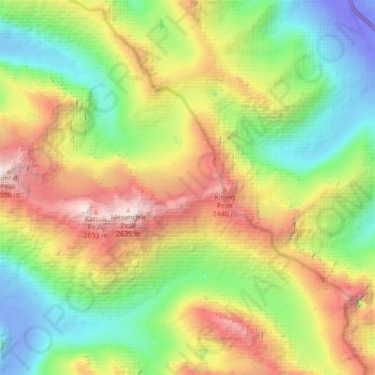 Mesahchie Glacier topographic map, relief map, elevations map