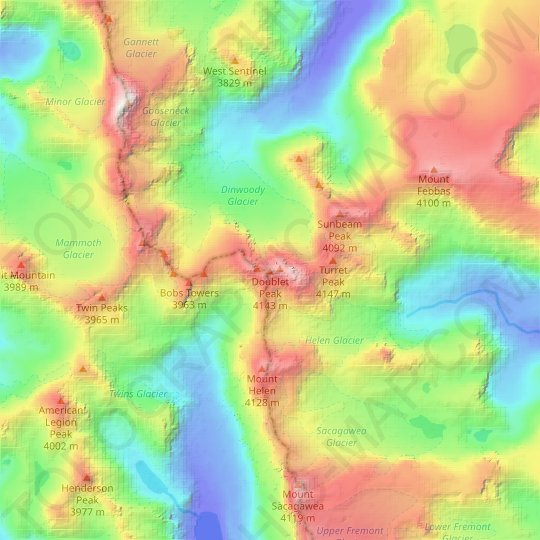 Doublet Peak topographic map, relief map, elevations map
