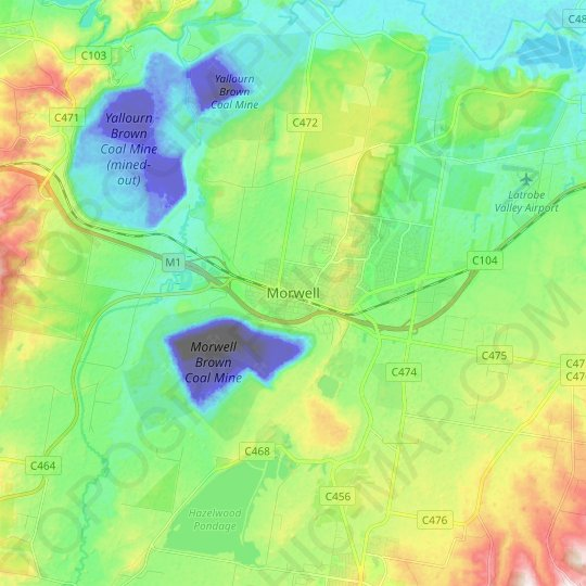 Morwell topographic map, relief map, elevations map