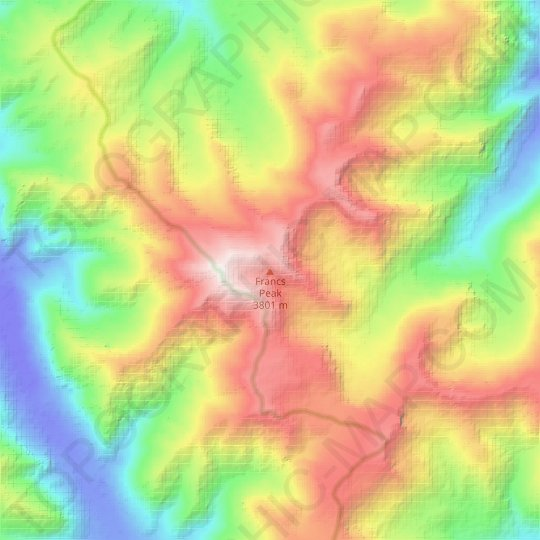 Francs Peak topographic map, relief map, elevations map