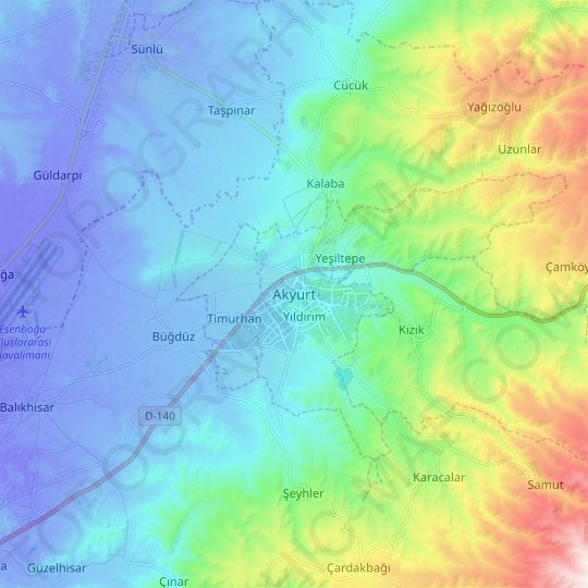 Akyurt topographic map, relief map, elevations map