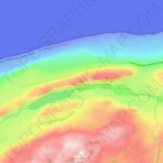 Cloud Peak topographic map, relief map, elevations map